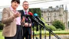 DUP leader Arlene Foster with party colleague Simon Hamilton speaking at Stormont Castle following the failure of talks aimed at establishing a new executive. Photograph: Alan Lewis/PhotopressBelfast.co.uk