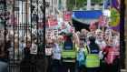 CARDIAC SERVICES: Protesters call for a 24/7 cardiac unit for the southeast, at the Dáil. Photograph: Cyril Byrne/The Irish Times