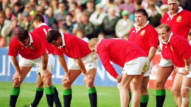 Dejected Lions players pictured as they head for defeat during the third Test match against New Zealand at Eden Park in 1993. Photograph: David Rogers/Getty Images