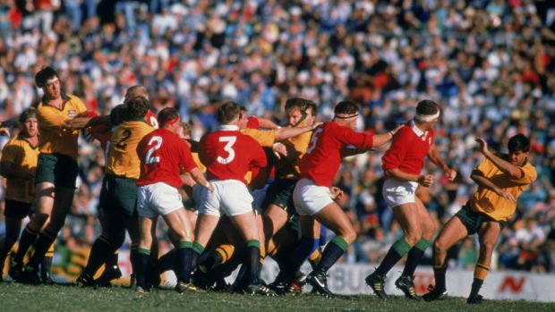 A row breaks out during the third Test between Australia and the Lions in 1989. Photograph: Russell Cheyne/Getty Images