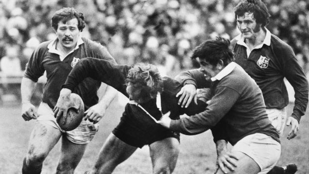 New Zealand's Ian Kirkpatrick is brought down by Bobby Windsor of the Lions, as Phil Orr (left) and Trevor Evans close in during the first Test at Wellington on June 18th, 1977. Photograph: Central Press/Hulton Archive/Getty Images