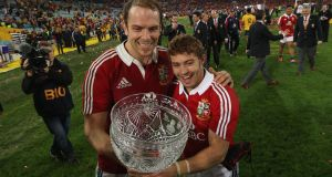 Alun Wyn Jones and Leigh Halfpenny celebrate after victory for the Lions in the third Test against Australia in Sydney in 2013. Photograph: David Rogers/Getty Images