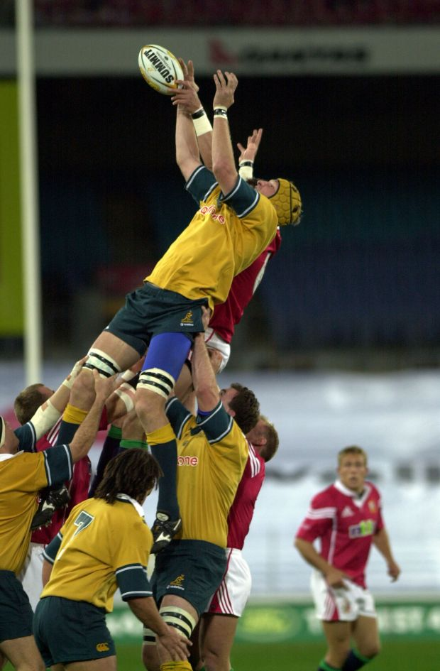 Justin Harrison steals lineout ball from Martin Cory during the third Test between Australia and the British & Irish Lions at Stadium Australia in Sydney. Photograph: Ross Land/Getty Images