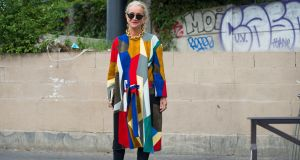 Lucinda Chambers at the Balenciaga show during Paris Fashion Week. Photograph: The New York Times