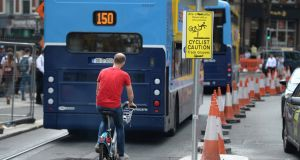 Tim Gaston, director of public transport services with the NTA, has said some city thoroughfares are not wide enough to include a tram track as well, and so cyclists may have to be directed to other routes. Photograph: Dara Mac Dónaill