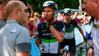 Mark Cavendish at the finish line on stage four of the Tour de France after being injured in a fall. Photograph:  Philippe Lopez/AFP/Getty Images