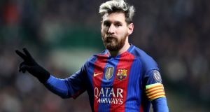 Lionel Messi has agreed a contract extension which will keep him at Barcelona until the summer of 2021. Photograph:  Owen Humphreys/PA Wire