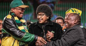 South Africa's president, Jacob Zuma; Winnie Mandela, wife of the late president Nelson Mandela; and the country's deputy president, Cyril Ramaphosa, at the ANC's national policy conference in   Johannesburg. Photograph: Gianluigi Guercia/AFP/Getty Images