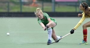 Ireland's Hannah Matthews in action against Spain last year. Player  will earn her 81st international cap on Saturday. Photograph: Rowland White/Inpho