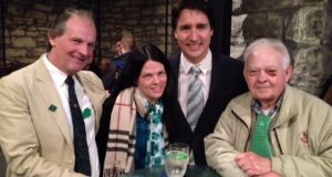 Canadian prime minister Justin Trudeau visited Brigid's Well pub, run by Patrick McDonald from Portarlington in Co Laois (left), on St Patrick's Day.