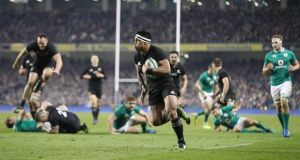 Malakai Fekitoa scores in Dublin as the All Blacks bounced back from their defeat to Ireland with a 21-9 victory. Photograph: Billy Stickland/Inpho