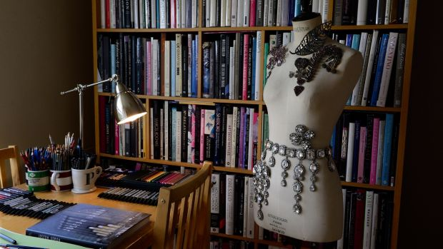A manikin with parisian costume jewellery,books and drawing desk.Photograph: Cyril Byrne/The Irish Times