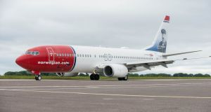 A Norwegian Air plane at Cork Airport at the  launch of the company's first transatlantic flight from Cork to the US. Photograph: Brian Lougheed
