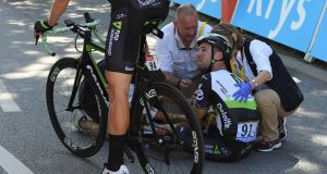 Mark Cavendish's Tour de France was ended after a collision with Peter Sagan on stage four. Photograph: Mantey Stephane/EPA