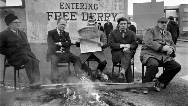 Hume at a early morning demonstration in Derry, 1972. Photograph: Watford/Mirrorpix/Mirrorpix via Getty