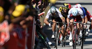 Slovakia's Peter Sagan and Mark Cavendish clash near the finish line at the end of the fourth stage of the Tour de France. Photograph: Getty Images