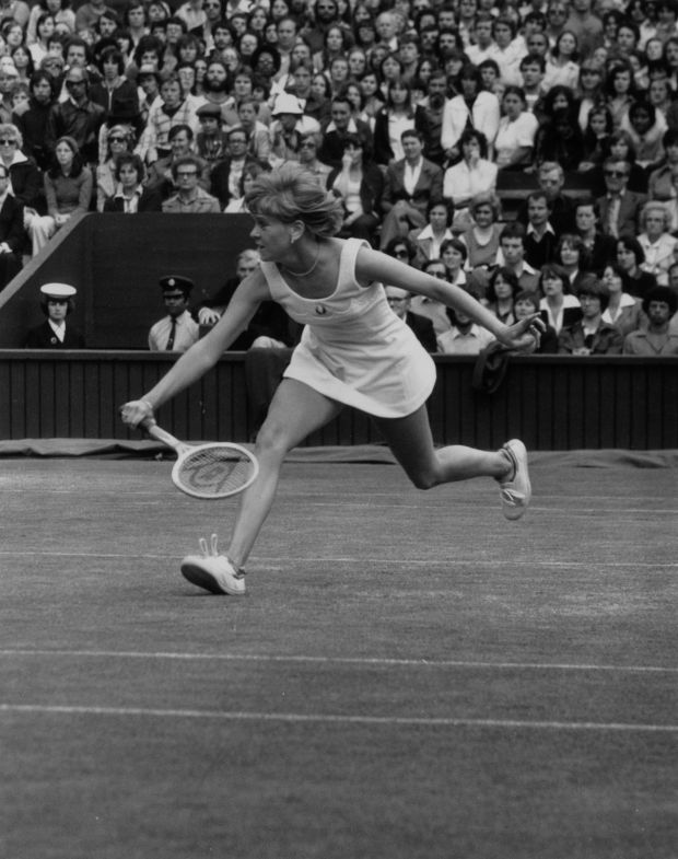 27th June 1977: Sue Barker reaches for a ball in her match against Kerry Reid of Australia in a Ladies' Quarter Finals at Wimbledon. Sue Barker won 6 - 3, 6 - 4. Photograph:David Ashdown/Keystone/Getty Images