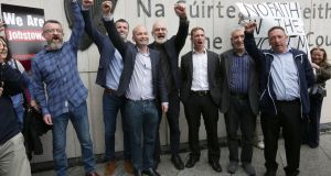 Ken Purcell, Scott Masterson, Paul Murphy, Michael Murphy, Ciarán Mahon, Frank Donaghy and Michael Banks following their acquittal in the  Jobstown protest trial. Photograph: PA