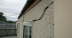 Cracking in a house at Avila Close, Finglas, caused by pyrite in the cement. Photograph: Frank Miller