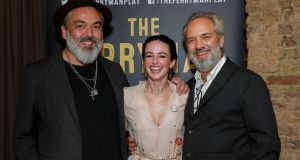 Jez Butterworth, Laura Donnelly and Sam Mendes at the press night after-party for 'The Ferryman' in London. Photograph: Dave Benett/Getty Images