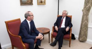 Britain's secretary for Brexit David Davis and Minister for Foreign Affairs Simon Coveney in London. Photograph: Victoria Jones/AFP/Getty Images