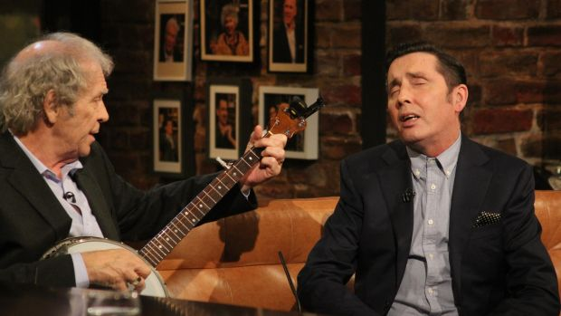 Christy Dignam with Finbar Furey on The Late Late Show. Photograph: RTE