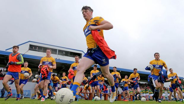Clare at their Munster championship semi-final match against Kerry. Photograph: Donall Farmer/Inpho