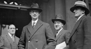 Éamon de Valera with members of the cabinet during the inauguration of the Constitution in 1937. Photograph: Hulton Archive