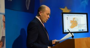 Minister for Communications Denis Naughten announcing the broadband plan last April.  File photograph: Cyril Byrne