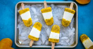 Mango, chia seed and lime popsicles