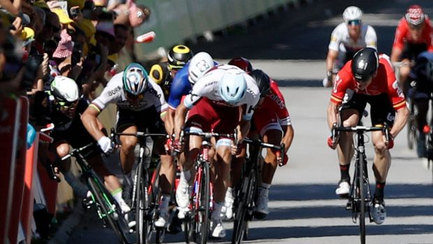 Sagan's move looked like a pretty vicious one, although only he knows if he acted deliberately or not. Photograph: EPA