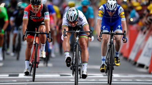 Peter Sagan was always going to get the better of me in a sprint but it was great to finish on the podium. Photograph: Getty Images