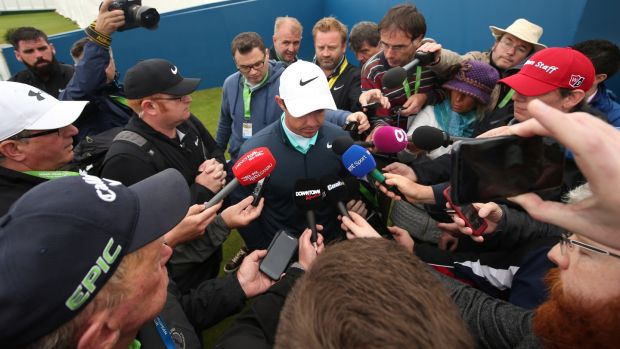 McIlroy talks to the media after failing to make the cut. Photo: Matt Mackey/Inpho