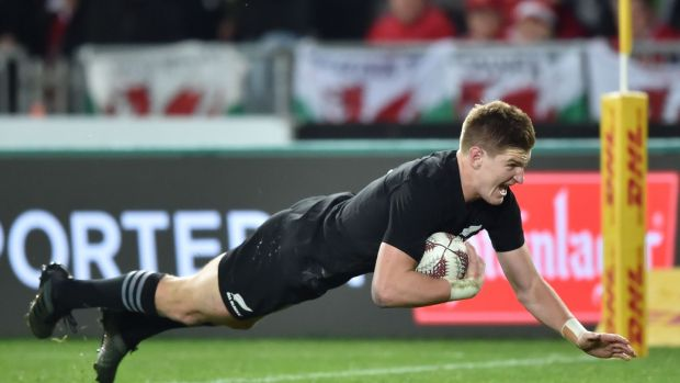 New Zealand's Jordie Barrett scores their second try. Photograph: Getty Images