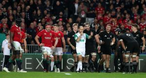 Romain Poite blows the final whistle as the series is drawn. Photograph: David Davies/PA Wire.