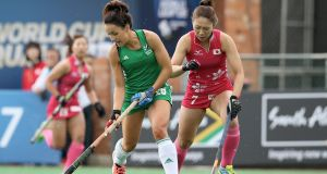 Anna O'Flanagan of Ireland is challenged by Japan's Mami Ichitani during her side's 1-1 draw in Johannesburg. Photograph: Jan Kruger/Getty