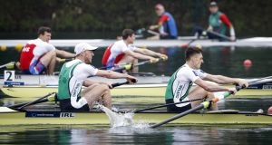 Mark O'Donovan and Shane O'Driscoll claimed their fourth gold medal of the season by winning the lightweight pair at the World Cup in Lucerne. Photograph: Srdjan Stevanovic/Inpho
