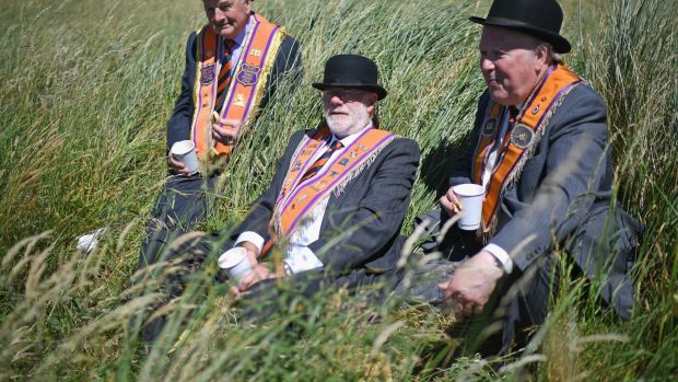 Orangemen at the annual pre Twelfth of July parade held in Rossnowlagh, Co Donegal. Photograph; Jeff J Mitchell/Getty Images