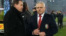 New Zealand's coach Steve Hansen  speaks with British and Irish Lions' coach Warren Gatland after the third  Test, which ended in a 15-15 draw. Photograph: Michael Bradley/AFP/Getty Images