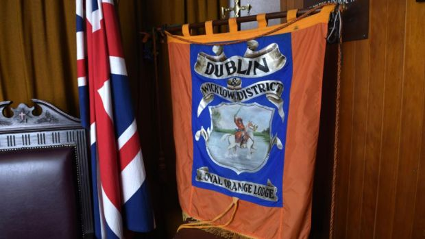 Dublin & Wicklow Orange Lodge: the union flag and a LOL 1313 banner. Photograph: Bryan Meade