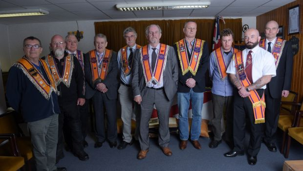 Dublin & Wicklow Orange Lodge: Grand Master Chris McGimpsey with fellow Orangemen at its Northumberland Road hall. Photograph: Bryan Meade