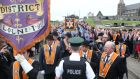 Drumcree parade: police stop Portadown Orangemen from walking down Garvaghy road. Photograph: Matt Bohill/Pacemaker Press