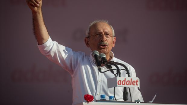 Turkish opposition leader Kemal Kiliçdaroglu speaks on stage during a rally in Istanbul. Photograph: Chris McGrath/Getty Images