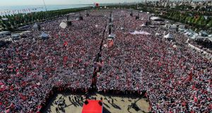 Supporters of Turkey's main opposition party, the Republican People's Party,  attend a rally in the Maltepe district of Istanbul. Photograph: Yasin Akgul/AFP/Getty Images