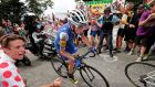 Daniel Martin of Quick-Step Floors during stage nine of the Tour de France. Photograph: Benoit Tessier/Reuters