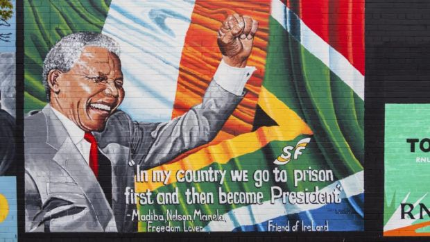 A Nelson Mandela wall mural on the Lower Falls Road in Belfast
