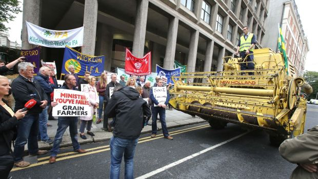 IFA Protest With Combine Harvester Outside Department Of Agriculture