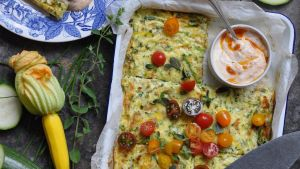 Lilly Higgins' courgette frittata with harissa yogurt
