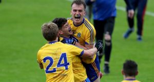 Roscommon players celebrate after beating Galway to win the Connacht SFC. Photo: Bryan Keane/Inpho