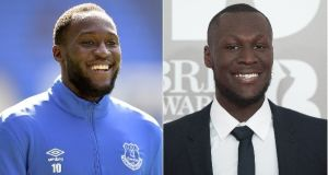 Everton striker Romelu Lukaku and grime artist Stormzy.